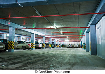 view of underground parking with column