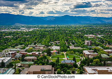 View of University of Montana from Mount Sentinel, in...