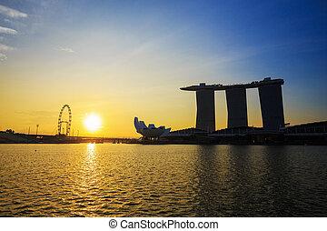 urban cityscape of Singapore with sunrise