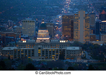 View of Utah Capitol building during night time
