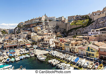 View of Vallon des Auffes, picturesque old-fashioned little fish