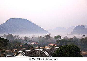 View of Vang Vieng at sunrise, Laos.