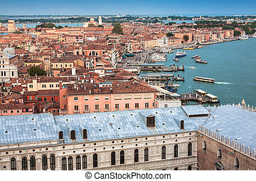 View of Venice city from the top of the bell tower at the ...