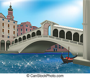 Venice - View of Venice with the Rialto Bridge