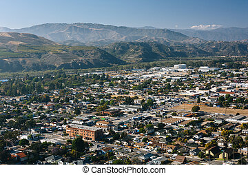 View of Ventura and distant mountains from Grant Park, in Ventura, California.