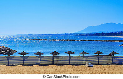 View of Venus Beach in Marbella, Spain