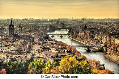 View of Verona in the morning haze - Italy