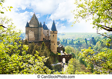 View of Vianden castle in Luxembourg from the hill