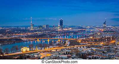 View of Vienna in at blue hour