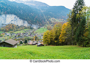 View of village at the Alps
