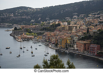 view of Villefranche sur Mer on the