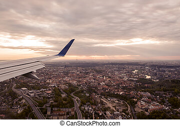 View of Vilnius from an airplane - An aerophoto of the sun ...