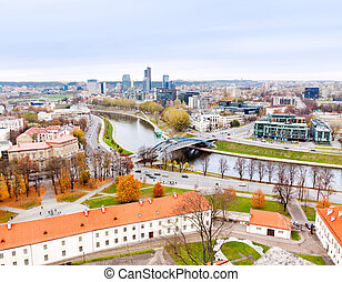 Vilnius, Lithuania: October 27, 2012 - top view of the old city and the new modern houses
