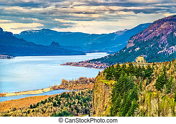 View of Vista House at Crown Point above the Columbia River in Oregon