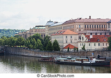 View of Vltava River Embankment in Prague, the Czech...