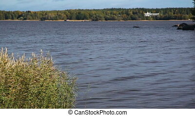 View of Vyborg bay. Autumn sunny daay in Mon Repos park,...