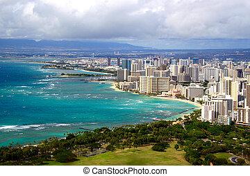 View of Waikiki beach and Honolulu skyline from Diamond Head