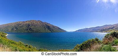 view of Wakatipu lake, South island, New Zealand
