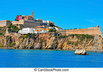view of walls of Dalt Vila, the old town of Ibiza Town, in Ibiza, Balearic Islands, Spain
