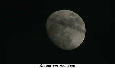 View of waning gibbous in night sky - Shooting of waning...