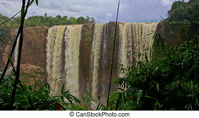 View of Waterfall Elephant among Tropical Forestry Hills -...