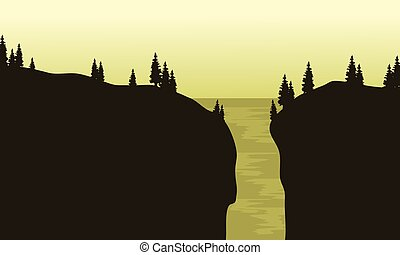 View of waterfall silhouette with green background