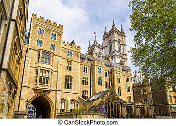 View of Westminster Abbey in London, England