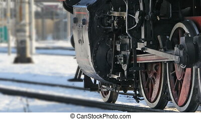 view of wheels of the locomotive