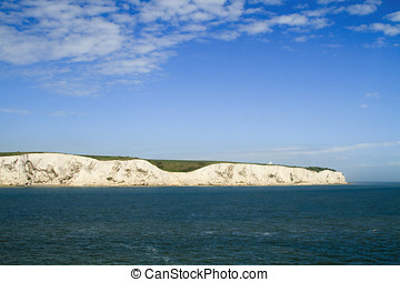 View of white cliffs of Dover from the sea - The white...