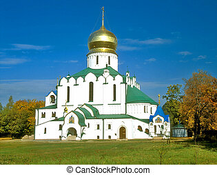 View of white russian cathedral