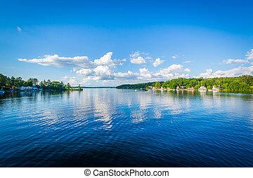 View of Winnisquam Lake, in Laconia, New Hampshire.
