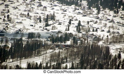 View of winter mountains and ski resort Sheregesh Russia