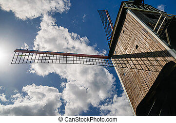 Wooden windmill by Bruges in Belgium