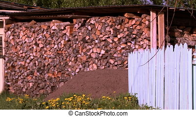 View of woodpile in out-of-door shed in summer