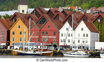 view of worldwide known Bryggen street - BERGEN, NORWAY -...