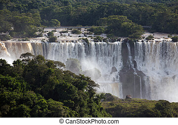 Iguassu falls - view of worldwide known Iguassu falls at the...