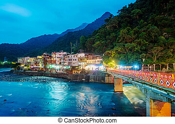 View of Wulai village at night