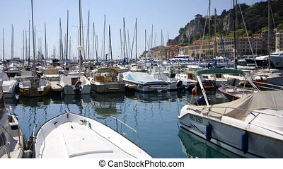 view of yachts in Nice harbour france