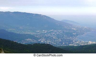 View of Yalta from Mount Ai-Petri. Crimea. UltraHD (4K)