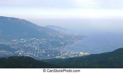 View of Yalta from Mount Ai-Petri. Panorama. Crimea.