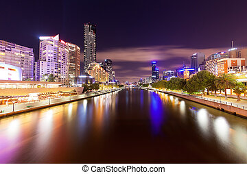 View of Yarra river in Melbourne at night - High resolution...