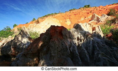 View of Yellow Orange Rock Formations Speckled with Wind -...