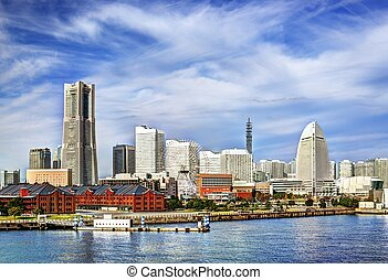 Yokohama, Japan - View of Yokohama, Japan. The city is the...