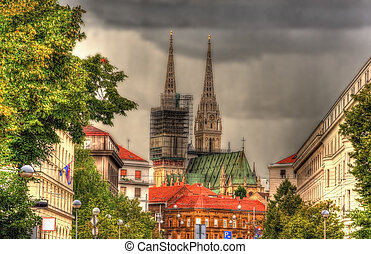 View of Zagreb Cathedral in Croatia