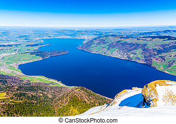 View of Zug Lake for the top of Rigi Mountain, Switzerland