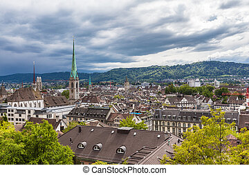 View of Zurich old town on a cloudy day