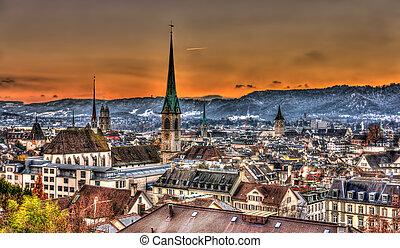 View of Zurich on a winter evening - Switzerland