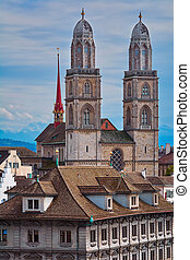 Grossmunster Protestant Church - View of Zurich with...