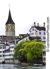 View of Zurich with Limmat river.