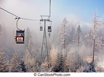 Vysoke Tatry - View on a cabin of the lift to Skalnate pleso...